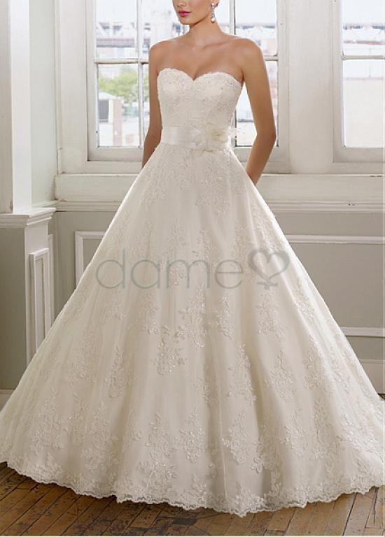 Satin Herz-Ausschnitt Spitze Plusgröße A Linie aufgeblähtes bodenlanges Brautkleider