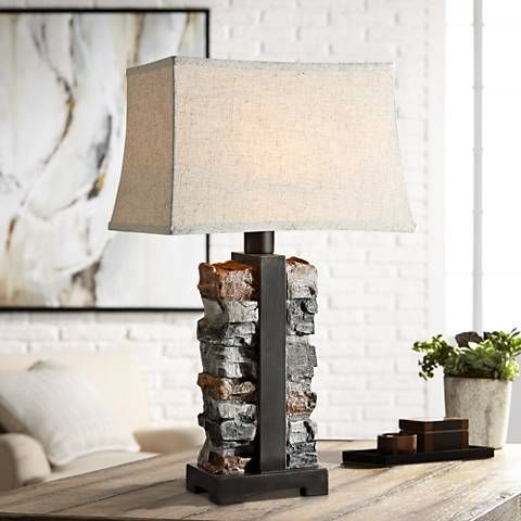 Uttermost Kodiak Stacked Stone Concrete Outdoor Table Lamp 59h35 Lamps Plus Outdoor Table Lamps Concrete Outdoor Table Rustic Table Lamps