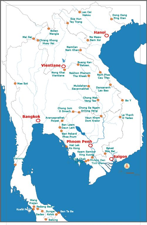 Map of all international crossings between Cambodia Laos – Travel Map Of Vietnam