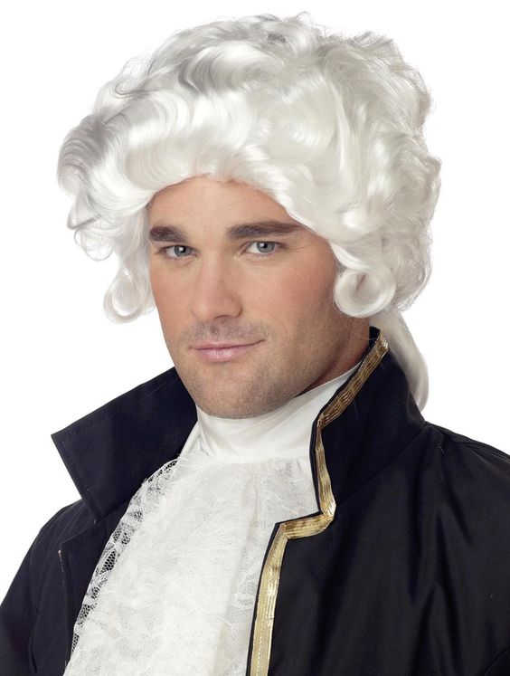 White Colonial Man Costume Wig Adult