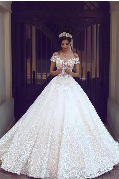 Off The Shoulder Short Sleeve Lace Ball Gown Wedding Dress Ok870 Cheap Bridal Dresses Ball Gowns Wedding Long Wedding Dresses