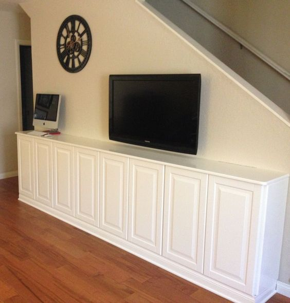 For Our Living Room Built In Console We Used 4 Liding Upper Cabinets And Simply Built A Base
