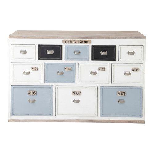 Theken-/Funktionsmöbel aus Holz mit zahlreichen Schubladen, B 133cm, weiß