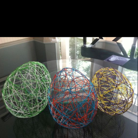 Fun craft made out of elmer 39 s glue string and balloons for What can you make out of string