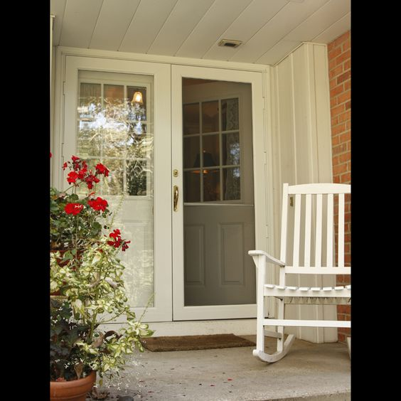 Another great double storm door entryway house for Front entry storm doors