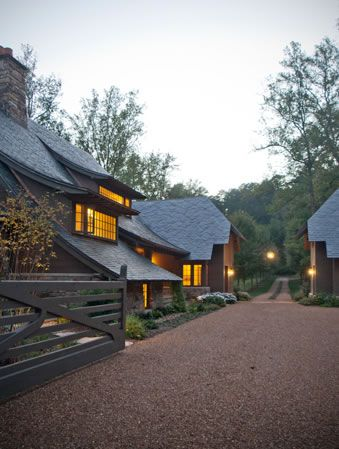 Equestrian Estate love the unpaved driveway and motor court...at dusk too, very nice.