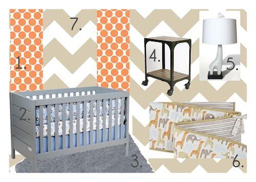 Design board for a boy nursery on a budget. #baby #nursery #chevron