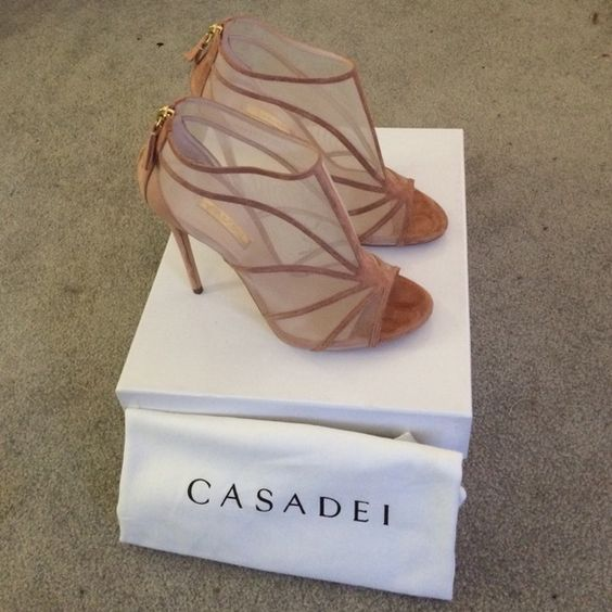 High mesh sandals Blush suede and nylon mesh Casadei Shoes Heels