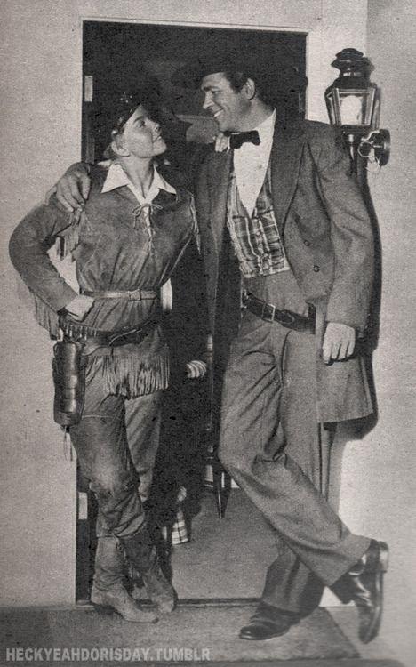 "Doris and Howard Keel behind the scenes on the set of ""Calamity Jane"""