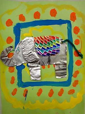 Thai Elephants Paint, mixed media, culture of Thailand, elephant For the Love of Art: 3rd Grade
