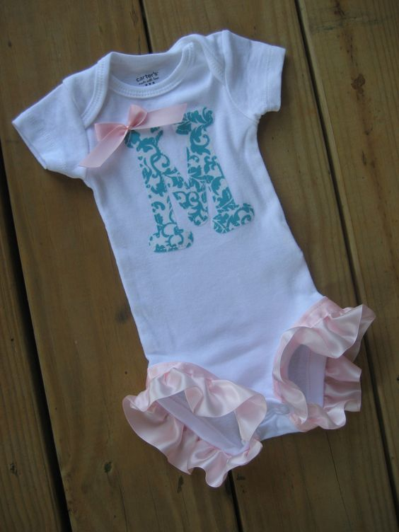 So cute for the hot summer! Onesie with Initial and Pink Leg Ruffles - long sleeve or short sleeve - newborn to 24m. $16.50, via Etsy.: