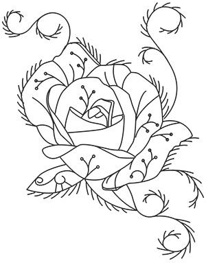 Stitch this delicate rose design with metallic thread accents to achieve a frosty look on home decor and more. Downloads as a PDF. Use pattern transfer paper to trace design for hand-stitching.