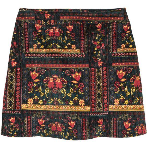 Patterned Velvet Skirt $24.99 ($25) ❤ liked on Polyvore featuring skirts, stretch skirt, patterned skirt, velvet skirt, h&m skirts and print skirt