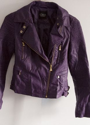 374384393e863 Élégantes Populaires vestes Veste Femme Cuir Violette   gq87X8w