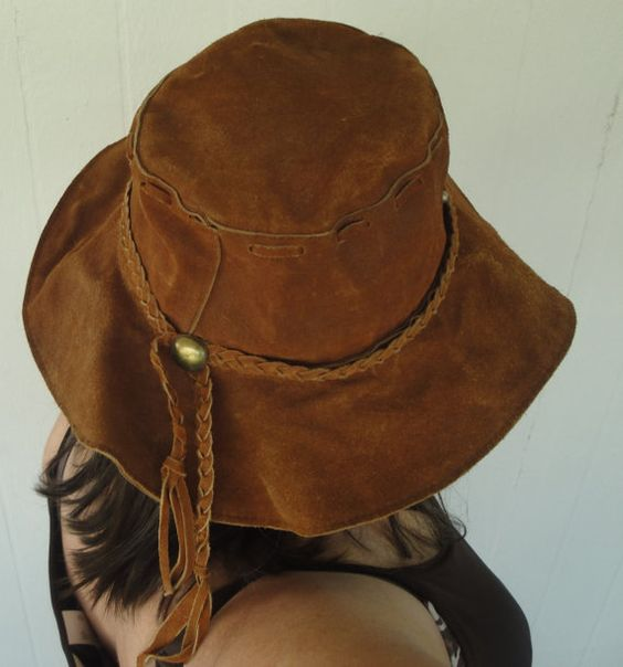 REDUCED Hippie hat Mod Groovy soft floppy Leather with braid trim 1960s or 70s wide brim size Large