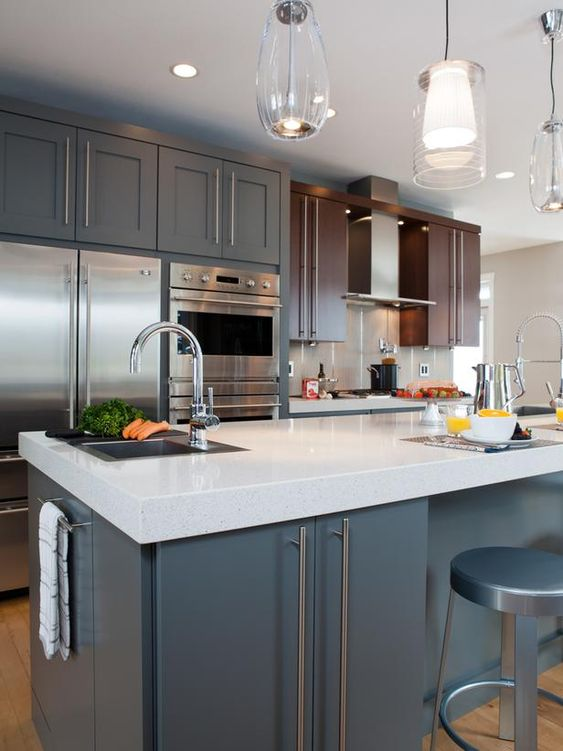 Nice chairs and hardware on pinterest for Nice modern kitchens
