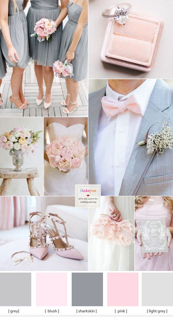 Grey and Pink Wedding Colour Schemes | itakeyou.co.uk