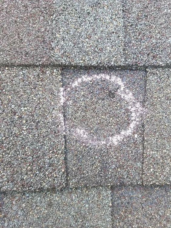 Hail damage to asphalt shingles