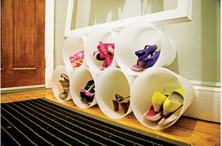 shoe organization from IKEA trash cans