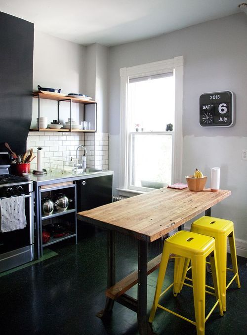yellow industrial stools (via A Beautiful Mess) (my ideal home ...