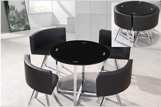 Madino Glass Stowaway Table Dining Set