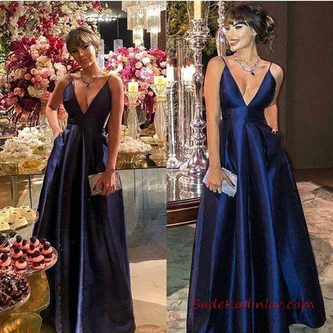 2020 Saten Elbise Modelleri Lacivert Uzun Askili V Yakali Klos Etek Cepli The Dress Elbise Elbise Modelleri