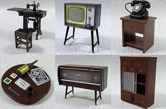 Dollhouse Miniature Vintage Furniture SET Stereo TV Telephone Retro | eBay