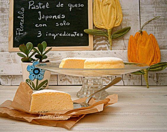 Florelila, recetas y aficiones.: Pastel de queso Japonés, con sólo tres ingredientes.