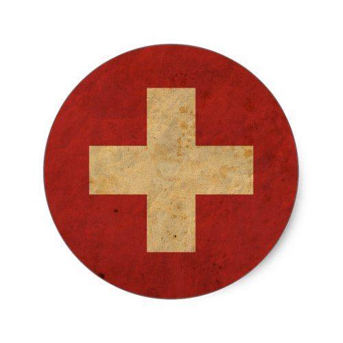 Vintage Switzerland Flag Classic Round Sticker Zazzle Com Switzerland Flag Round Stickers Custom Stickers