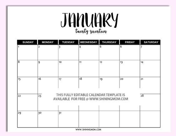microsoft printable calendar 2017
