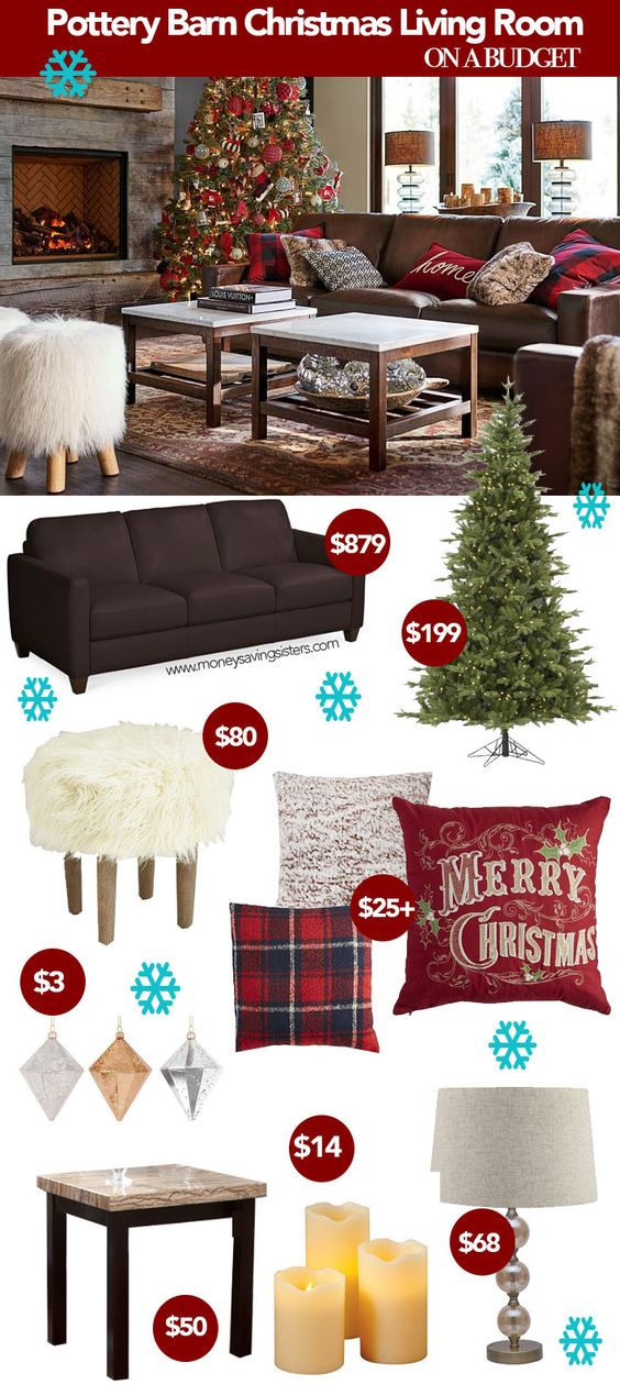 Recreate this pottery barn christmas living room on a budget lots of knockoffs from target for Christmas living room pinterest