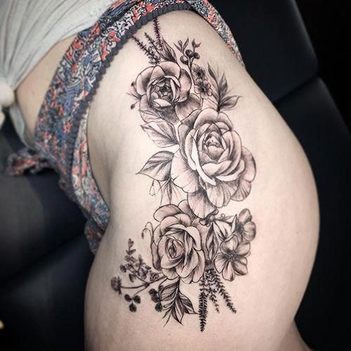 Flower Thigh Tattoo Ideas Best Thigh Tattoos For Women Cute Leg