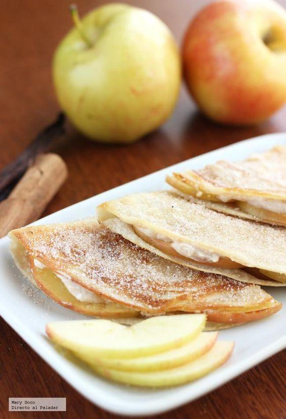 Quesadillas Dulces de manzana y queso crema - Sweet Apple and Cream Cheese Quesadillas
