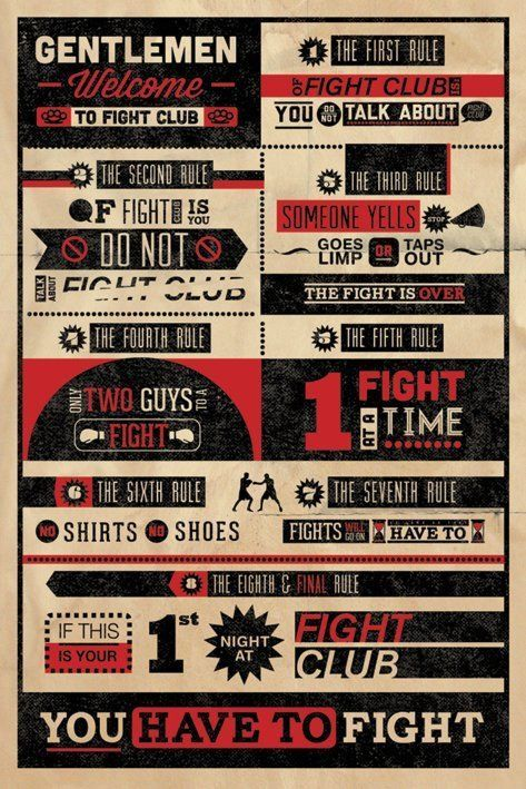 """FIGHT CLUB RULES - MOVIE POSTER / PRINT (INFOGRAPHIC) (SIZE: 24"""" X ..."""
