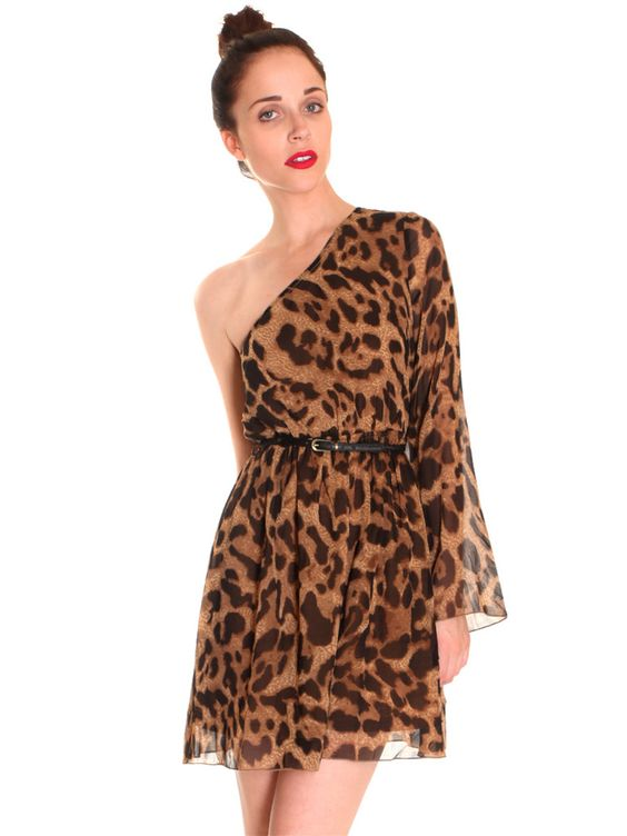 Leopard One Shoulder Dress >>>> gypsywarrior.com is def the place!! In love
