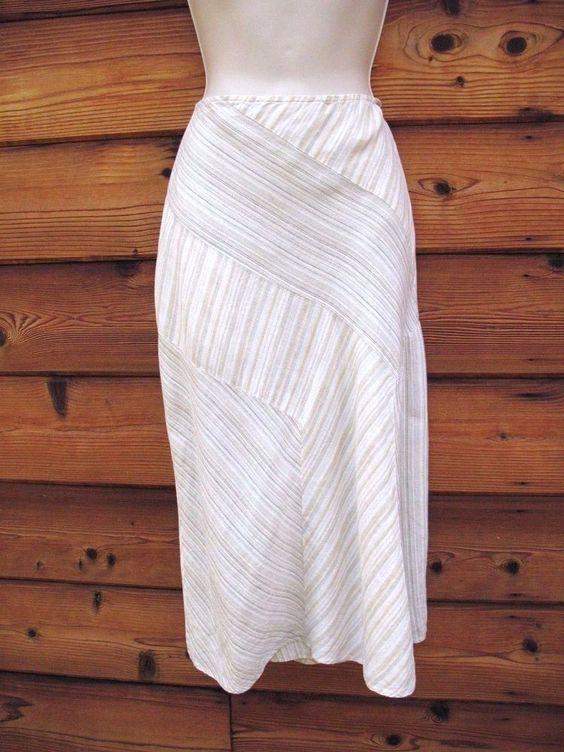 J. Jill Skirt Bias Cut 100% Linen  Striped Size 16 0X Side Zip Beige Multi #JJill #BiasCut