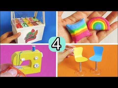 Diy 4 Miniaturas Y Manualidades Para Barbie Facil De Hacer Heladeria Maquina De Coser Sofa Si Manualidades Para Barbie Manualidades Manualidades Para Chicos