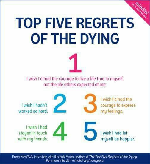 Best Top Five Regrets Of The Dying Images On Pinterest Book - Nurse reveals 5 biggest regrets everyone deathbed