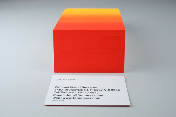 """Famous Visual Service Cards. The process: """"First we printed a solid fluoro yellow on all 250 cards, We then ran the cards back through the press adding dollops of fluoro red to the press as the cards were running. The result is a 250 step gradation from yellow to red across the print run. The name details we then letterpress printed in black."""""""