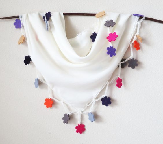Adorable!! Ivory Pashmina Cotton Colorful Felt Floral Triangle by MaxiJoy