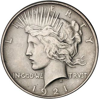 "Obverse of ""Peace"" Dollar, designed by Anthony de Francisci. The model is his wife, Teresa."