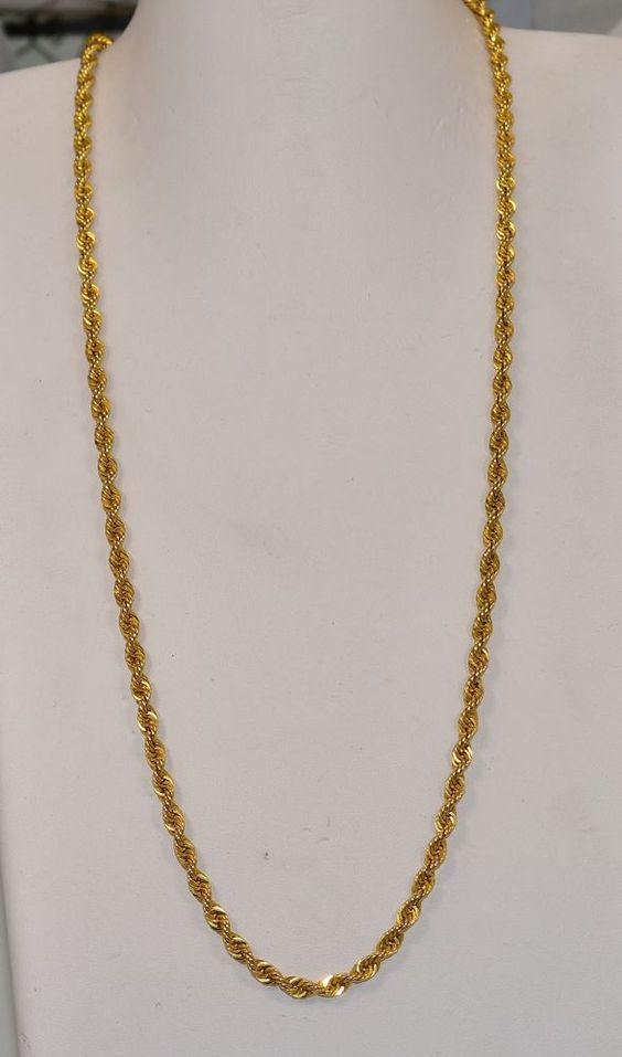 14 K Yellow Gold 4 5 Mm Hollow Rope Chain 26 Inch 12 8 Grams Chain Gold Chains For Men Gold Chain Design Gold Chains
