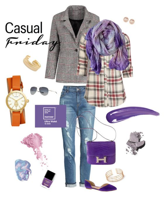 """Casual style ultra violet silk scarf"" by artmotivepainting ❤ liked on Polyvore featuring KUT from the Kloth, Nordstrom Rack, Kendra Scott, Full Tilt, Tory Burch, Hermès, Oakley, Bésame, Bobbi Brown Cosmetics and Chinese Laundry"