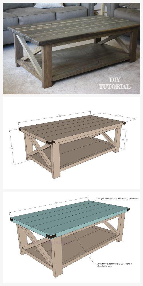 Diy Rustic X Coffee Table Tutorial Free Plan Diy Coffee Table Plans Wooden Table Diy Coffee Table Plans