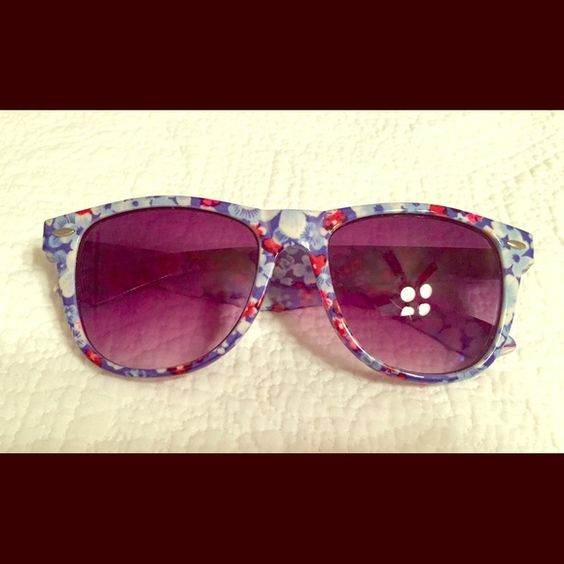 Floral sunglasses Floral printed wayfarer sunglasses. Purple tinted lenses. Gently used condition Accessories Sunglasses
