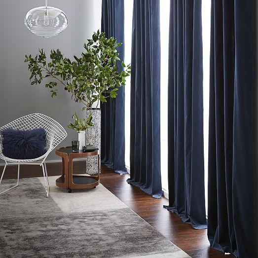 $200 96Hx48W (x2) Velvet Pole Pocket Curtain - Regal Blue   west elm