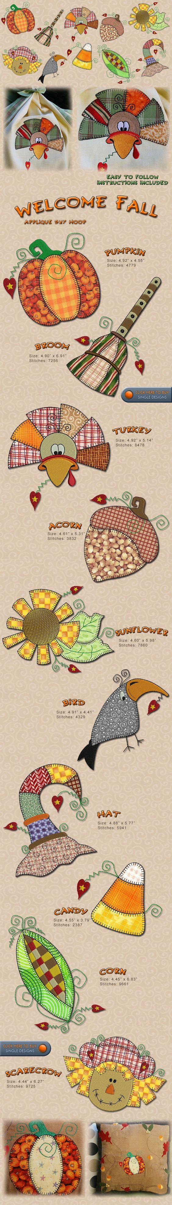 Fall autum turkey pumpking flowers embroidery designs