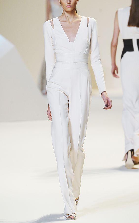 Elie Saab Vanilla Stretch Cady Jumpsuit at Moda Operandi. So gorgeous I can't take it.
