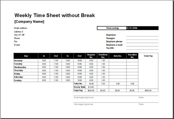 Weekly Time Sheet for Employees without Break DOWNLOAD at   - microsoft templates timesheet