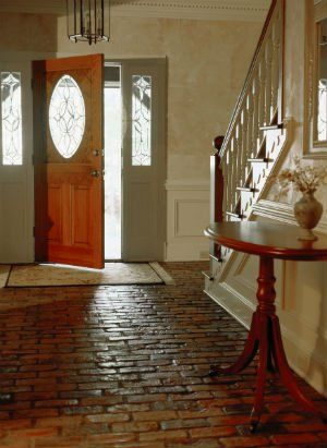 I LOVE THIS BRICK/COBBLESTONE FLOOR! IT'S BEAUTIFUL! ❤ WASN'T IN MY ENTRY WAY & KITCHEN 🙄
